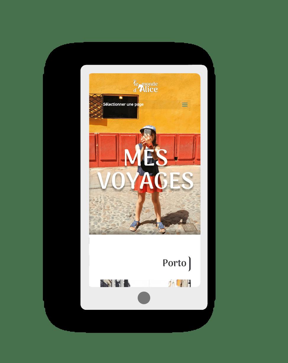 mockup smartphone pour le site le monde d'Alice