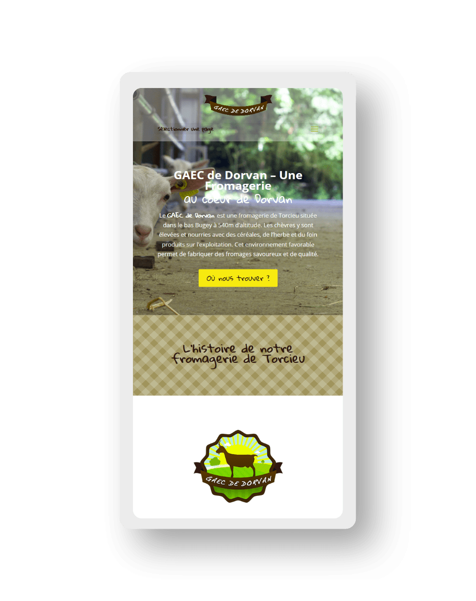 mockup smartphone pour le site GAEC de dorvan