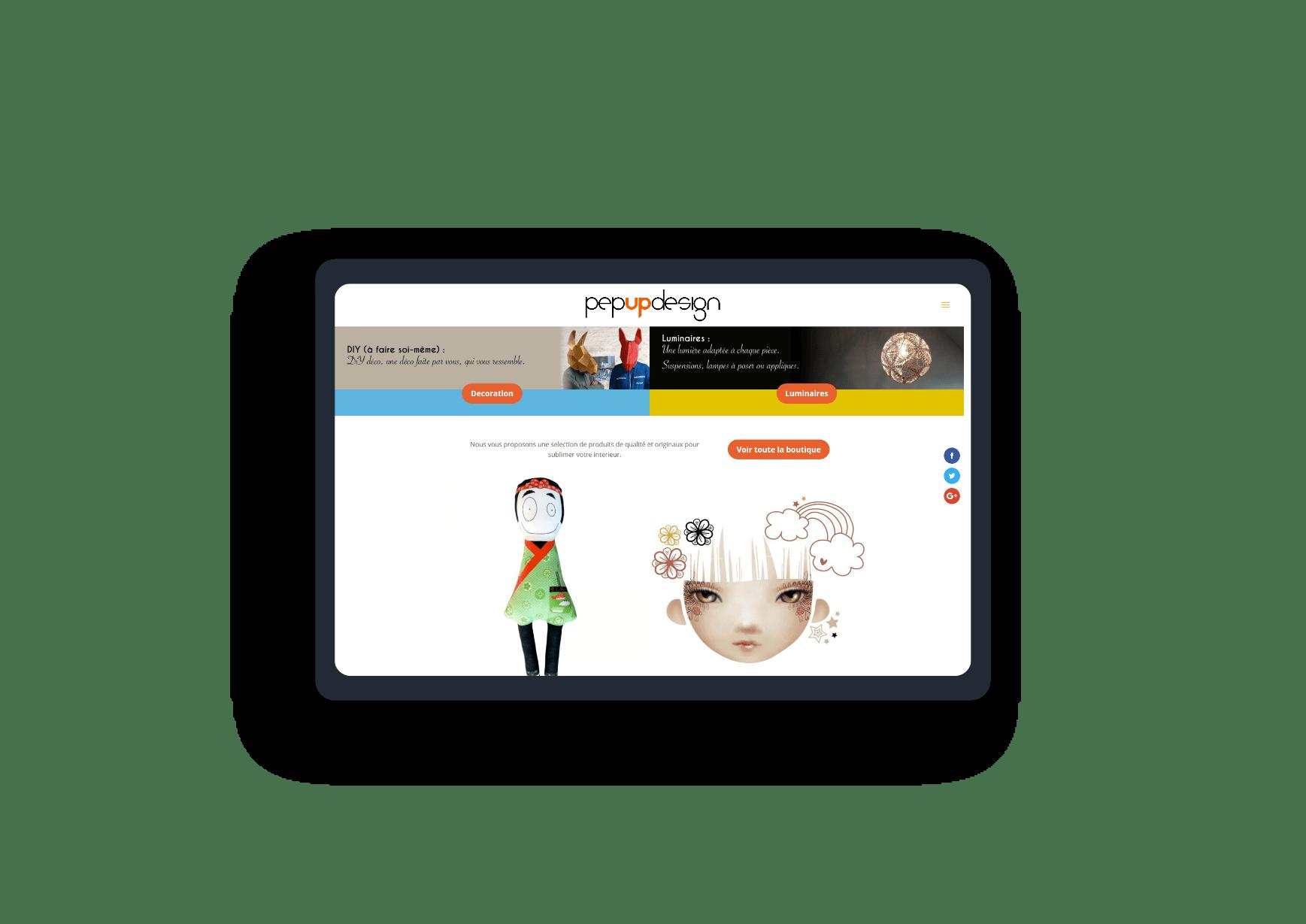 mockup tablette pour le site pep up design